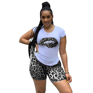 Plus Size Two Piece Set Sweatsuit Leopard Lips Print Short Sleeve Top + Biker Shorts Summer Casual 2 Piece Club Outfit Tracksuit