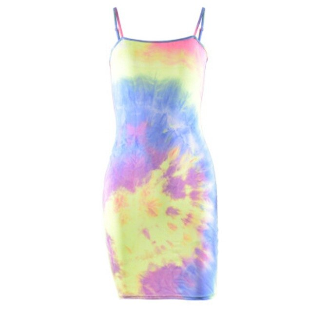 2 Styles Women's Sexy Bodycon Spaghetti Strap Sling Sleeveless Dyeing Print Evening Party Short Mini Dresses