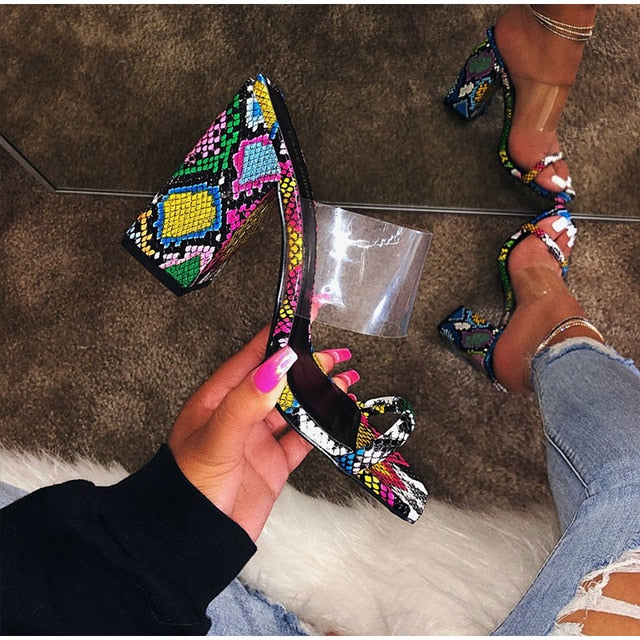 KAMUCC Women Transparent Sandals Ladies High Heel Slippers Candy Color Open Toes Thick Heel Fashion Female Slides Summer Shoes