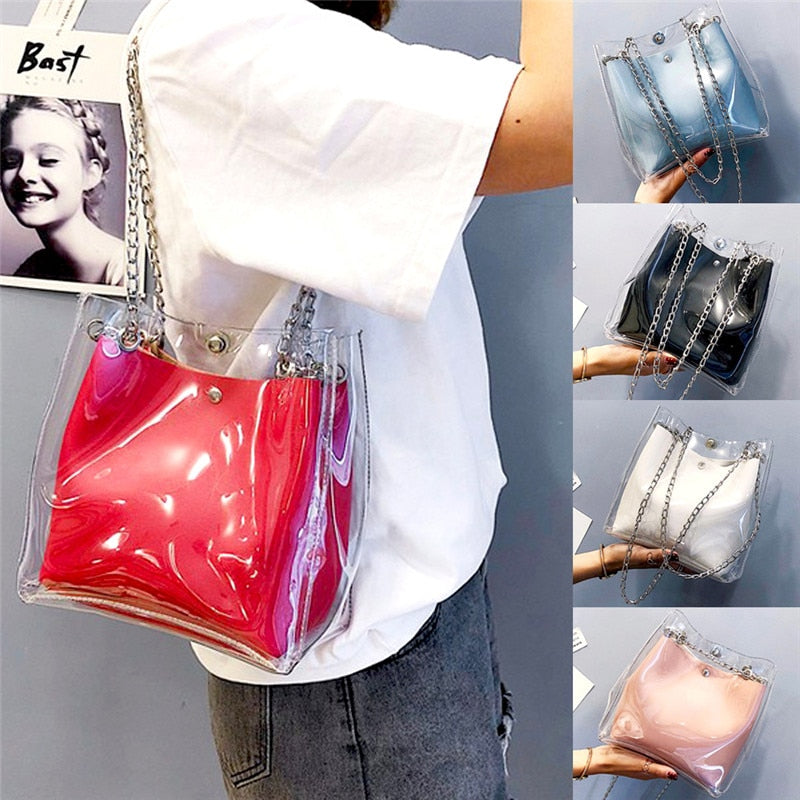 Fashion Women Transparent Clear Jelly Bags Lady Handbag Shoulder Tote Bag Purse