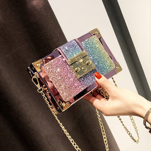 New women bag fashion sequins small bags jelly bags ladies rainbow shoulder messenger bag charming chain small square bag