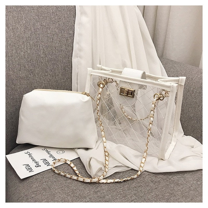 Transparent Jelly bag 2019 Fashion New High Quality PVC Women's Designer Handbag High capacity Chain Shoulder Messenger Bags