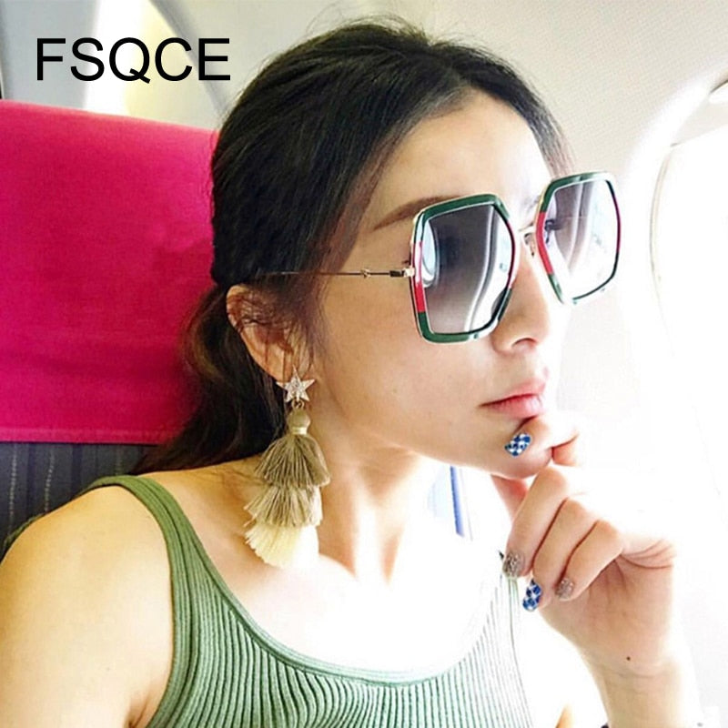Oversized Sunglasses New Brand Big Frame Square Sunglasses Women Fashion Ladies Sun Glasses Female Oculos Eyewear UV400 Beyonce
