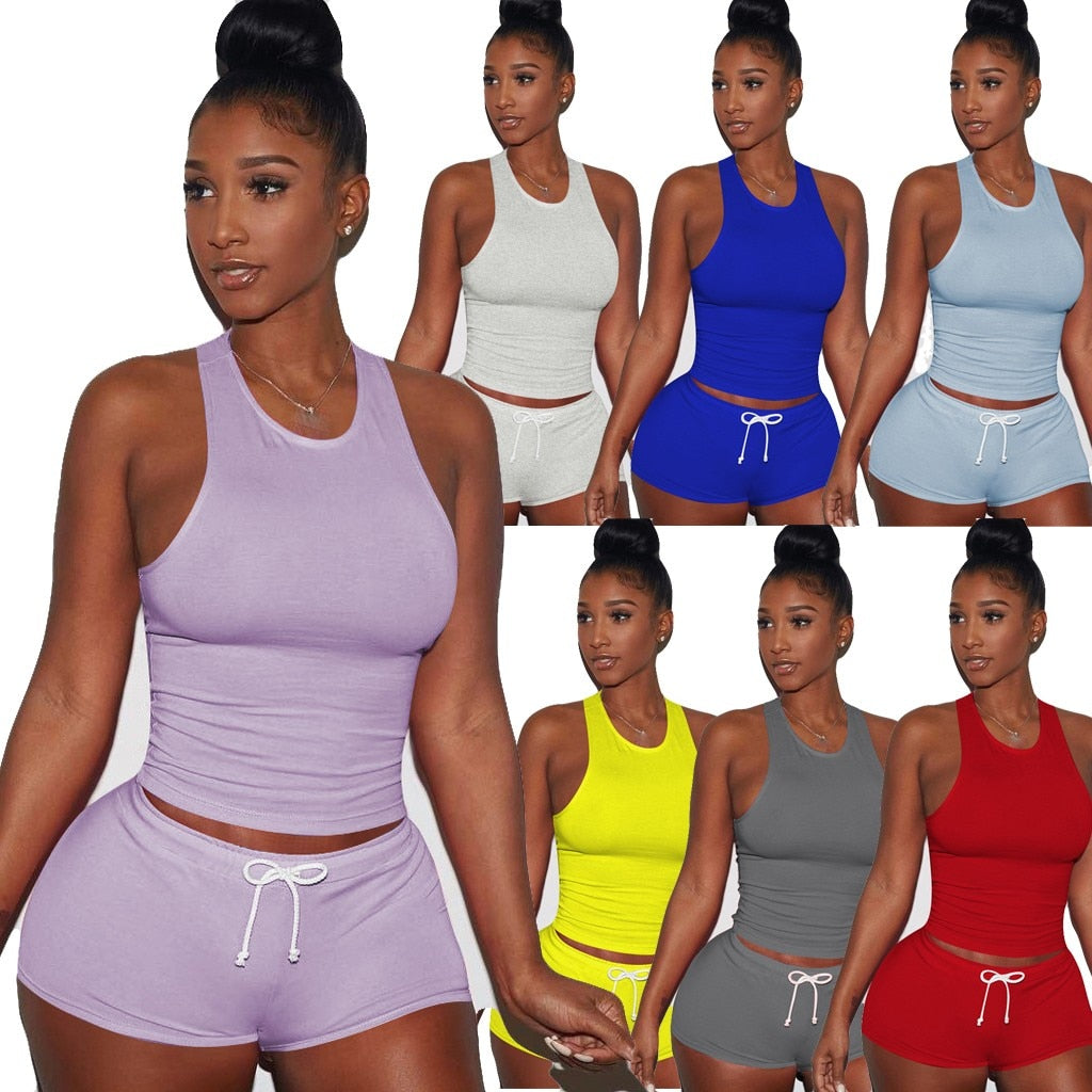 2 piece set women Sleeveless Split 2 Piece Set Casual Short Pants Casual Outfit Sportswear summer clothes ensemble femme
