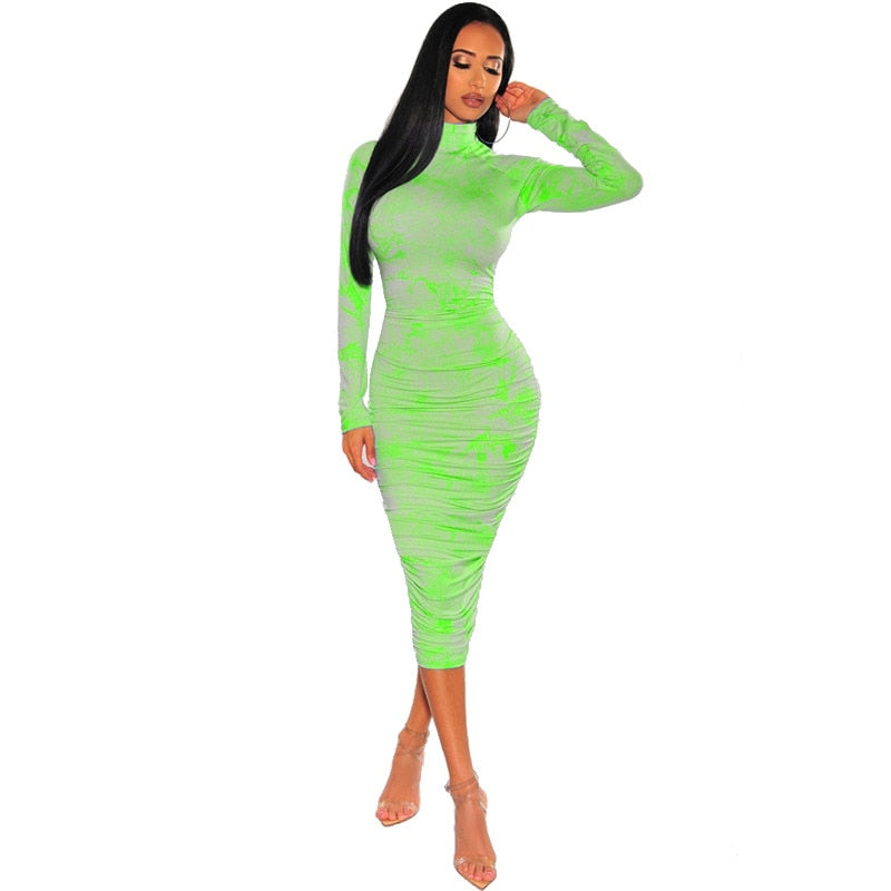 2020 New Summer Spring Plus Size Women's Sexy Body-con Print Full Sleeve  Skinny Maxi Dress Turtleneck Night Club Party Dresses