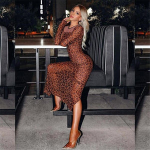 Sexy Women Serpentine Leopard Print Maxi Dress Lady Bodycon Long Sleeve Evening Party Dress Split Package Hip Dress Plus Size