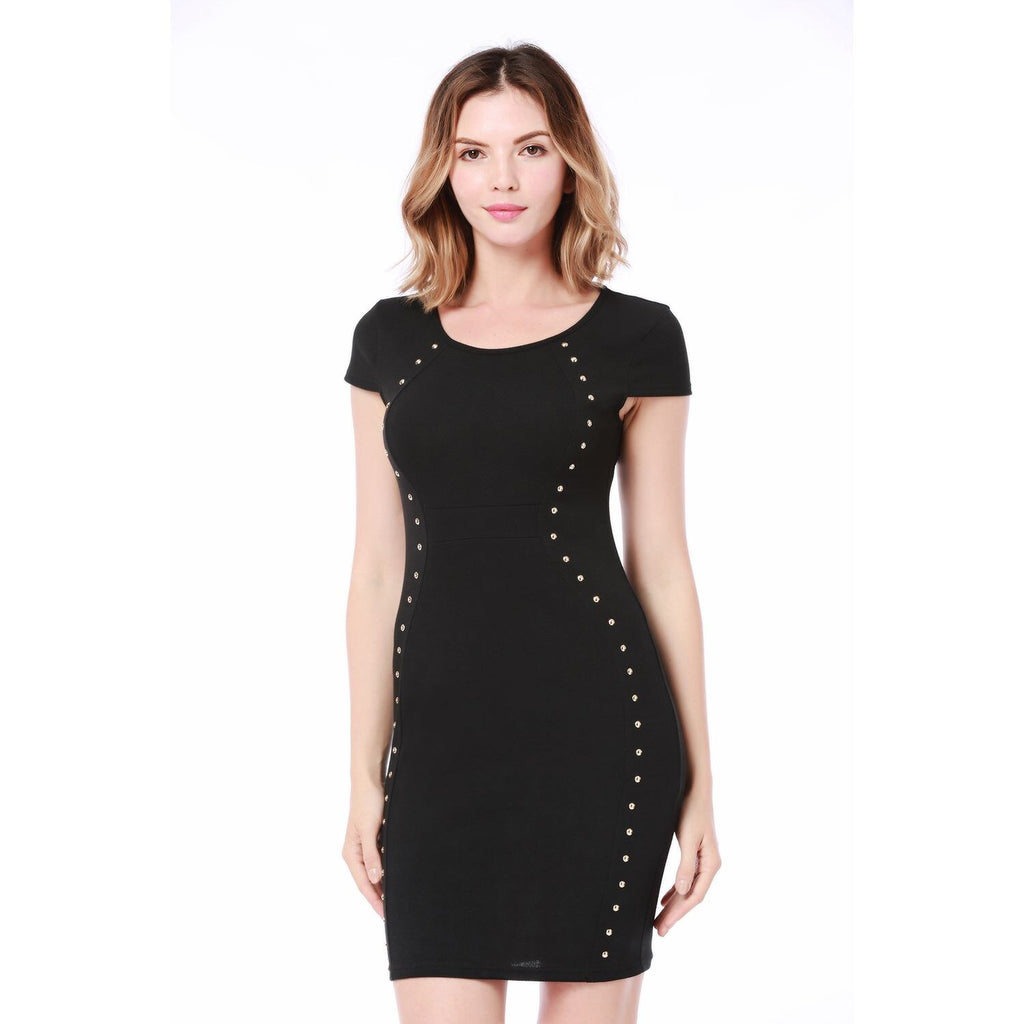 Women Round Neck Front Rivets Body con Dress Slim Pencil Dress