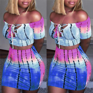 Sexy Hot Women 2 Piece Bodycon Clothes Sets Off Shoulder Tops T-shirt Lace Up Neck Crop Tops+Hot Skirts Striped Club Wear Sets