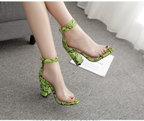 AIYKAZYSDL Women Summer Sandals Faux Snake Print Shoes Thick Block High Heels PVC Clear Transparent Ankle Strap Shoes High Heels