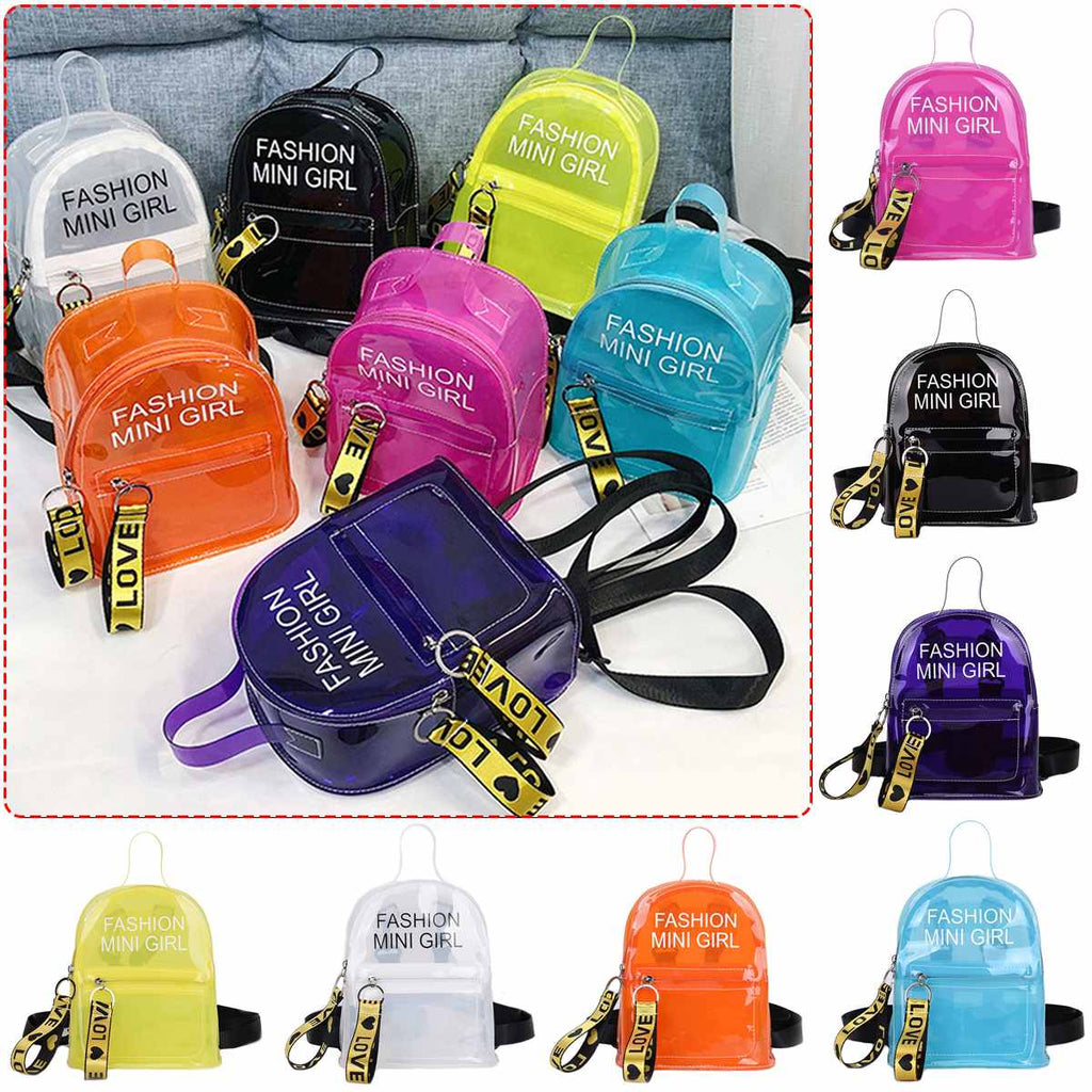 Candy Color School Backpack Women Jelly Bags Purse Solid Color