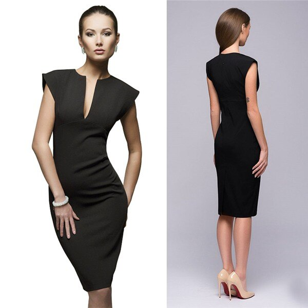 Women Summer Sexy V-Neck Body con Party Dress Work Pencil Dress Dark