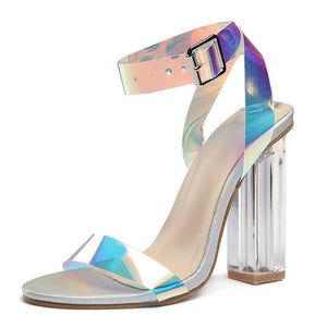 Women Shoes transparent Heels Jelly Shoes Women Sandals Sexy High Heels Shoes Fashion Pumps Summer Sandals Buckle Ladies Shoes