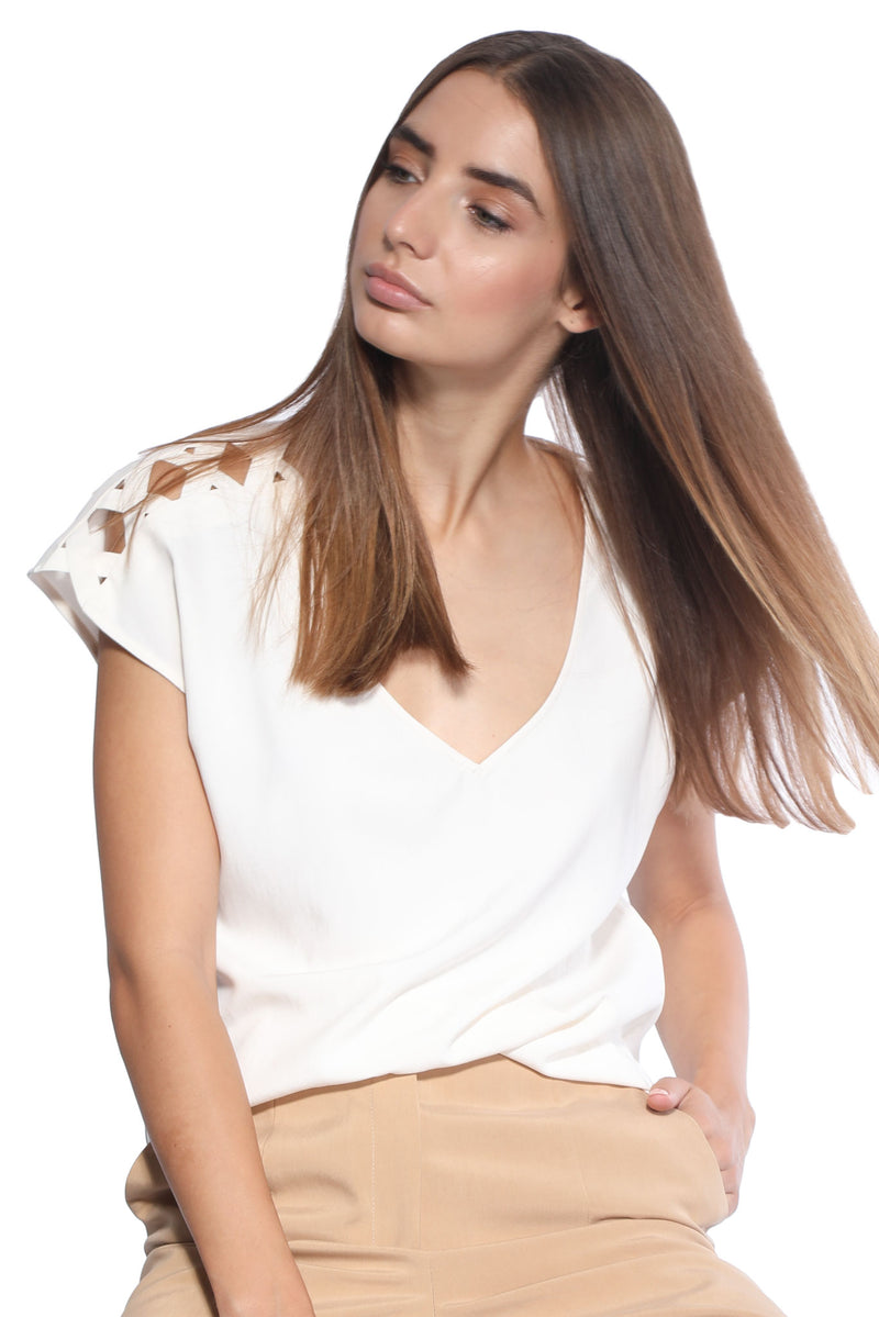 Indira Off-White Top in Silk