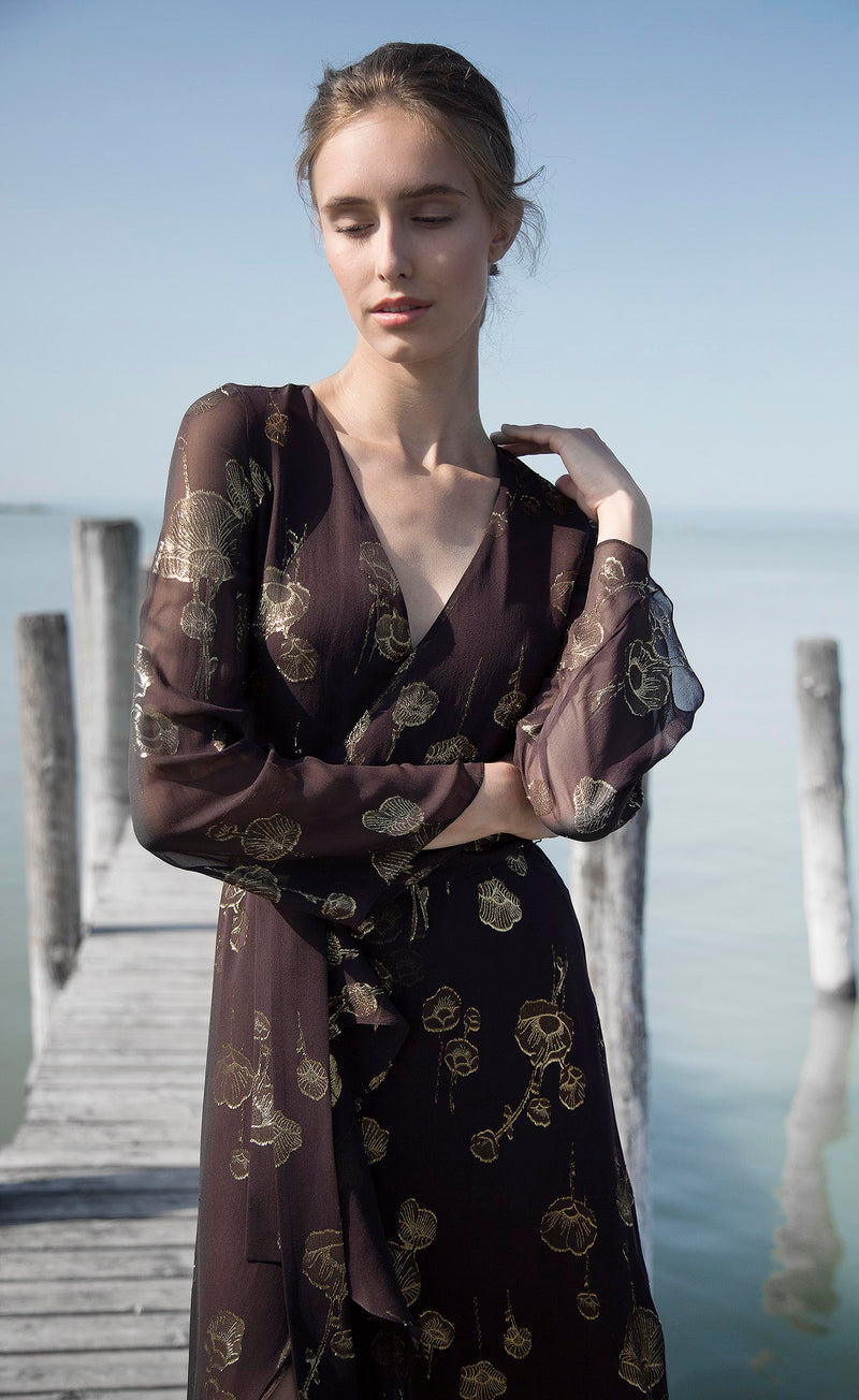 Robe marron en soie Jane Odysay