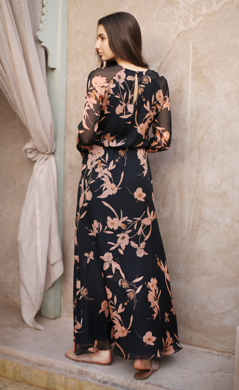 Navy Floral-Print Maxi Dress Odysay