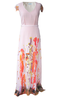 Odysay x Céline Peruzzo custom painted silk dress