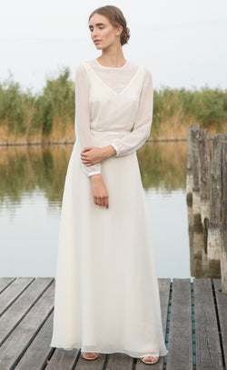 Victoria white long silk dress Odysay