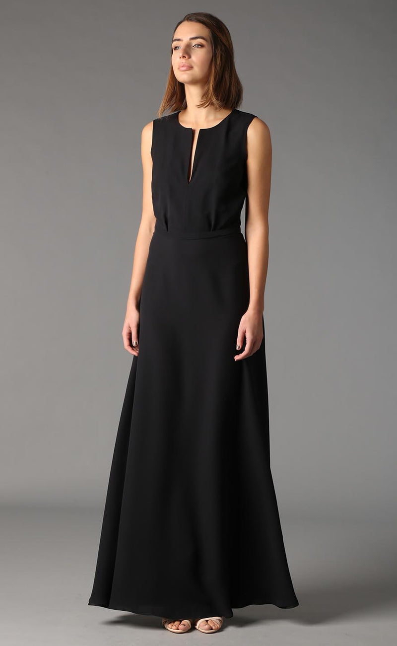 Valentina long black silk dress Odysay