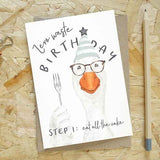 'Zero Waste Birthday'  Party pigeon  Card by Every Goose