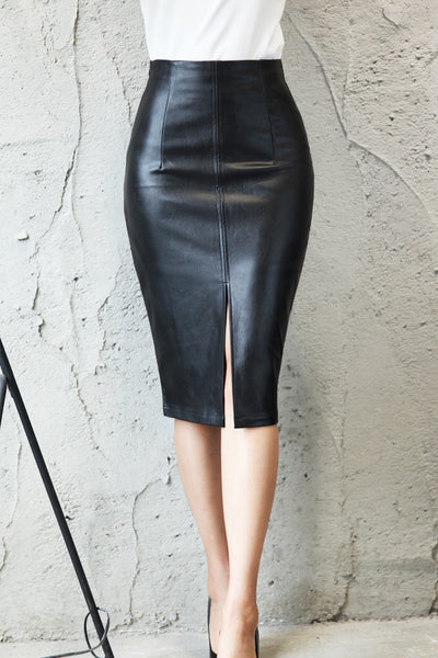 JO JO BLACK FAUX LEATHER SKIRT