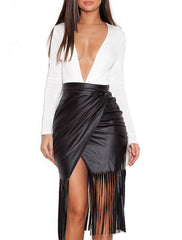 HARPER FAUX LEATHER FRINGED SKIRT