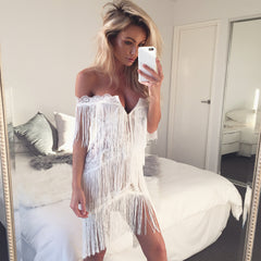 ELANA WHITE TASSEL DRESS - Shop Carley Glam - 1