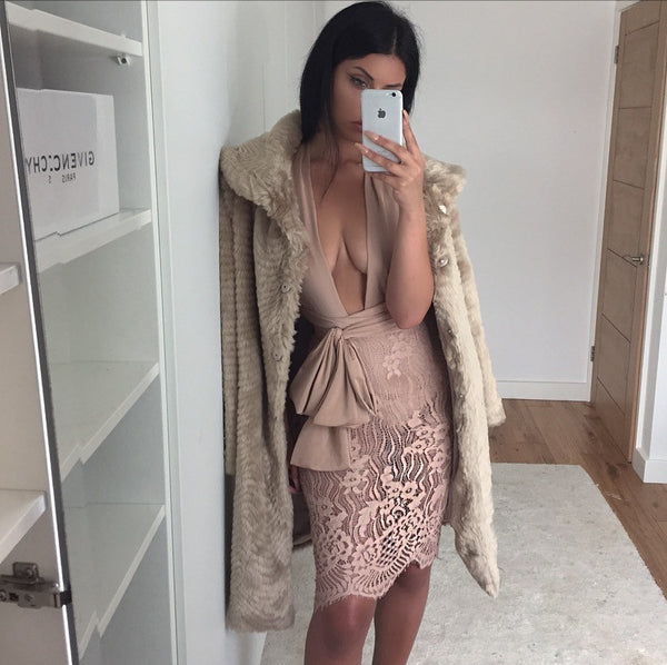 CAMELA NUDE LACE DRESS