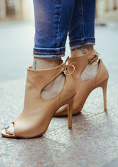RAYNA NUDE LEATHER BOOTIES