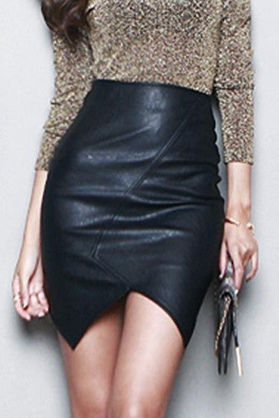 SHAYLA BLACK FAUX LEATHER SKIRT