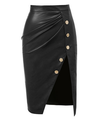JACQUELYN  BLACK FAUX LEATHER SKIRT
