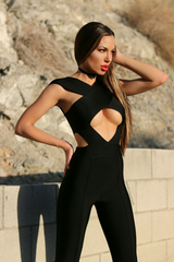 MONICA BLACK BANDAGE JUMPSUIT