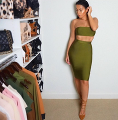 MAYA KHAKI TWO-PIECE BANDAGE DRESS