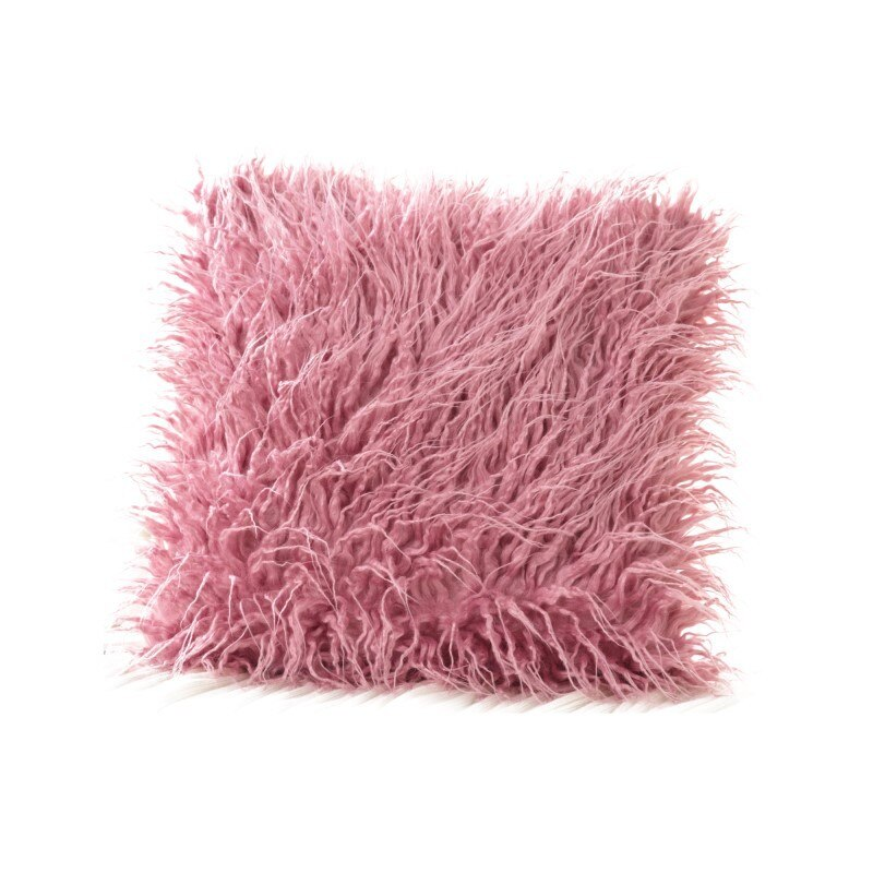 Coussin Fourrure Synthétique Rose