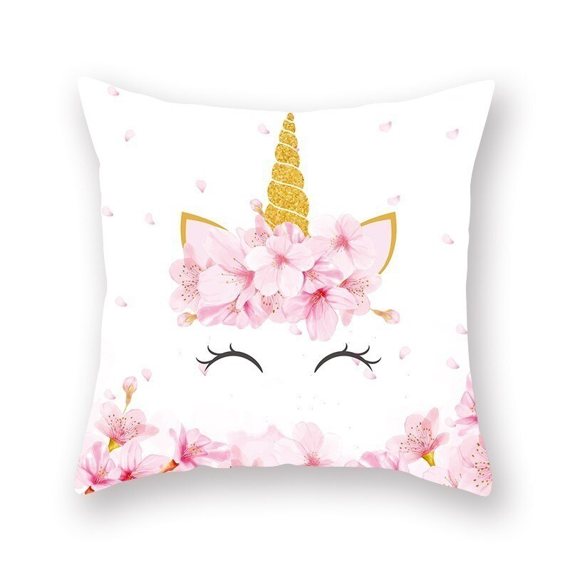 Lovely Unicorn Printed Casual Cushion Cover Square Polyester Pillow Case Home Decor Couch Chair Rest Pillowcase Party Decoration