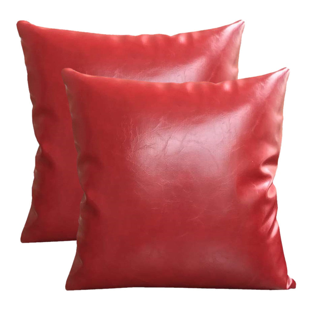 Coussin Cuir Rouge