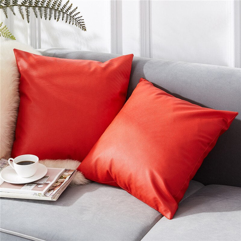 Coussin Simili Cuir Rouge