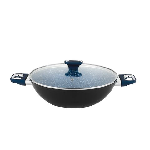 Marburg+ 32cm Forged Aluminum Wok with side handle w/ glass lid