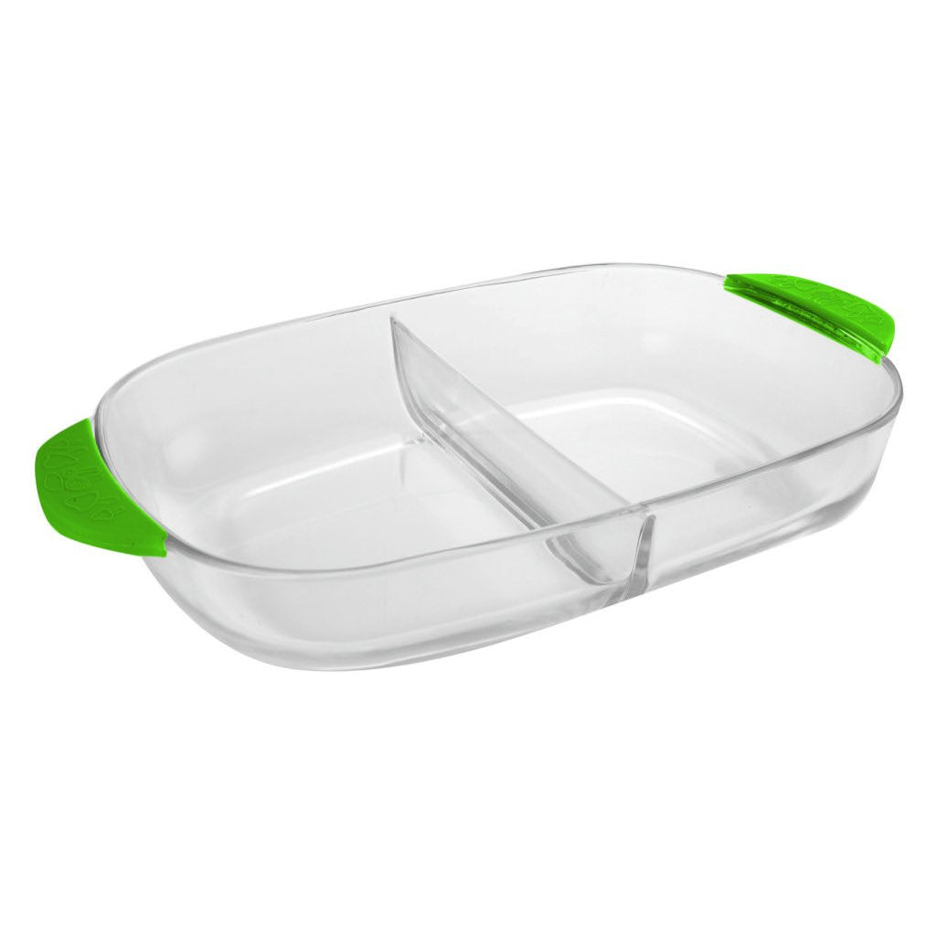 Vetro 3.7L Oblong Dish with Divider - Green Silicone Handle