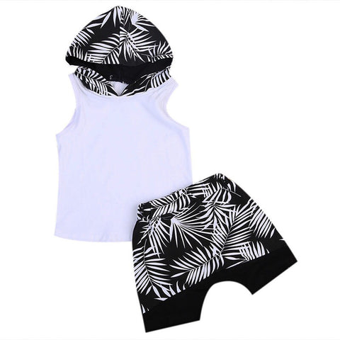 Palm Tree Boy Short with Sleeveless Hoodie Set