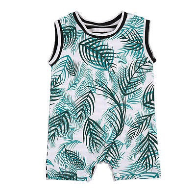 Boy Romper - Aqua Palm and Black/White stripes