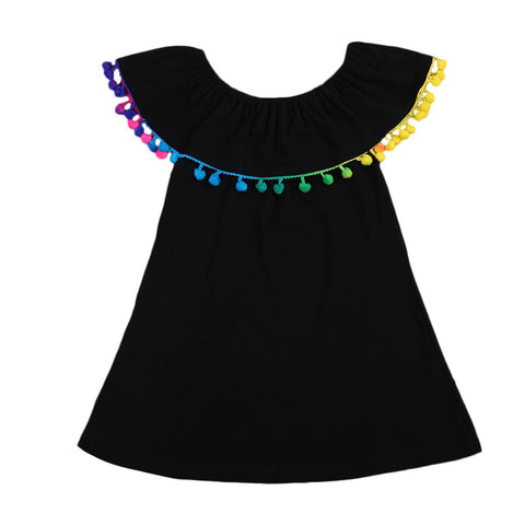 Dress - Black with Rainbow Pompom Trim
