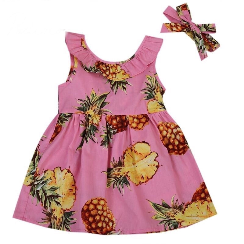 Dress - Pink Pineapple and Bow