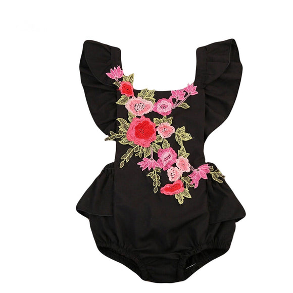 Girl Romper - Black with pink floral embroidered applique