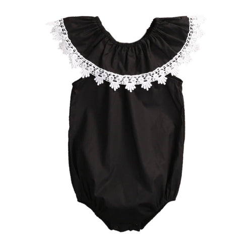 Girl romper - Black with white trim