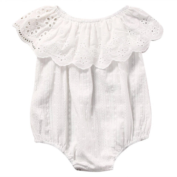 Ruffle Girl Romper - White Lace