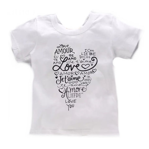 "Little Girls' Multilingual ""Love"" T-Shirt (White)"