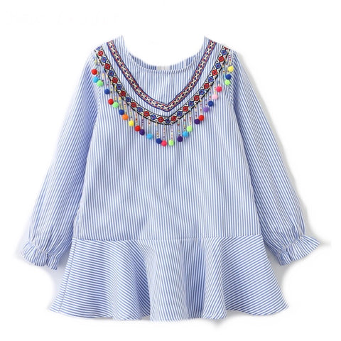 Dropped Waist Dress - Blue/white stripe with multicolored bead and pompoms