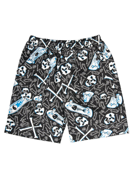 Boy Shorts - Black Skater Skulls