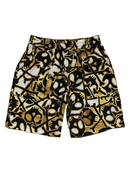 Boy Shorts - Black and Gold Skulls