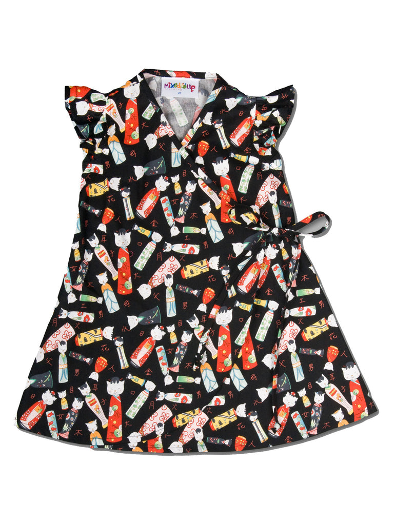 Infant Kimono Wrap Dress - Black Kitty Kokeshi